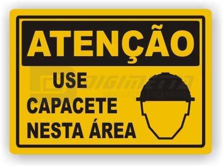 Placa: Atenção - Use Capacete Nesta Área