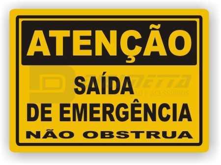 Placa: Atenção - Saída de Emergência Não Obstrua