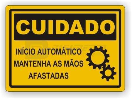 Placa: Cuidado - Início Automático Mantenha as Mãos Afastadas