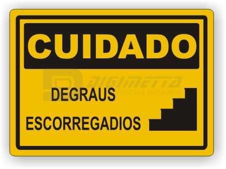 Placa: Cuidado - Degraus Escorregadios