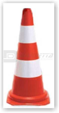 Cone de Sinalização em PVC Laranja Com Faixas Brancas 95 Cm