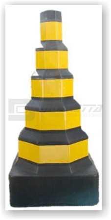 Cone Octogonal com Base Quadrada Preto com Faixas Amarelas