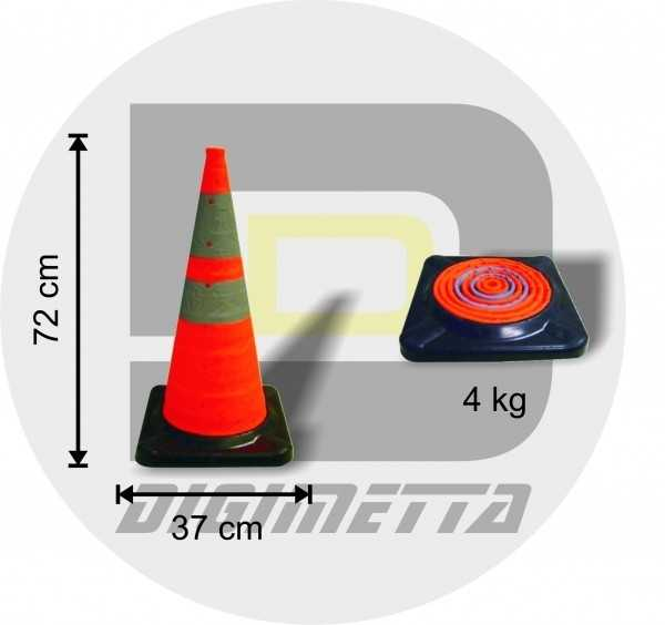 Cone de sinalização retrátil com faixas refletivas e base de borracha Características: Altura aberto: 72 cm Altura Fechado: 06 cm Peso: 04 Kilos Base de borracha de 37 x 37 cm Iluminação Interna intermitente ou constante Alimentação: 02 pilhas AAA ( Não Fornecida )
