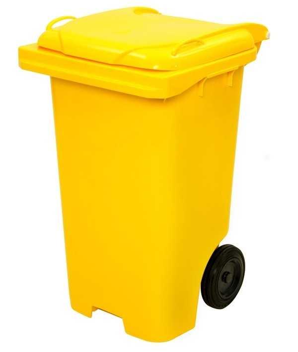 Container plástico com rodas para coleta seletiva