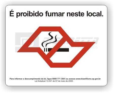Placa: Placa: Lei Antifumo do Estado de SP (13.541/SP) - Mensagem em Português