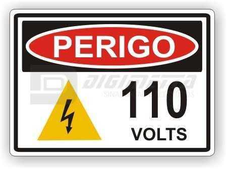 Placa: Perigo - 110 Volts